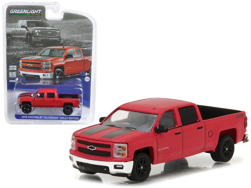 2015 Chevrolet Silverado Pickup Truck Rally Edition Victory Red with Black Stripes 1/64 Diecast Model Car Greenlight 27875 C
