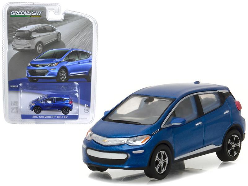 2017 Chevrolet Bolt Kinetic Blue Metallic 1/64 Diecast Model Car Greenlight 27875 D