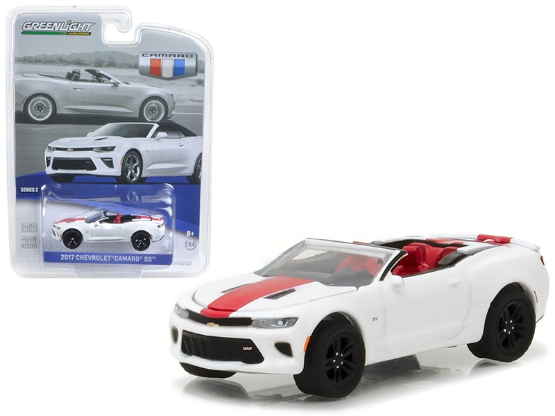 2017 Chevrolet Camaro SS Convertible Summit White with Red Stripe 1/64 Diecast Model Car Greenlight 27875 F
