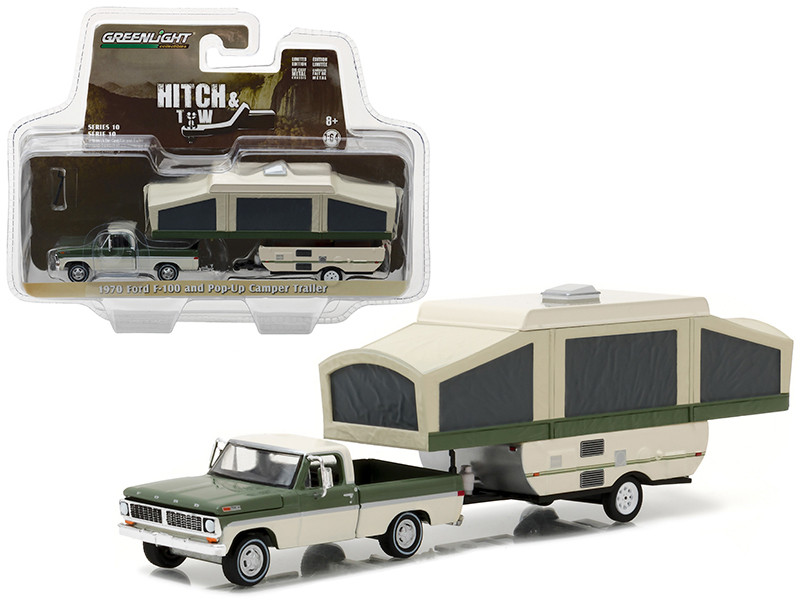 1970 Ford F-100 Pickup and Pop Up Camper Trailer Hitch & Tow Series 10 1/64 Diecast Model Car Greenlight 32100 B