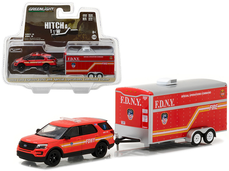 2016 Ford Explorer Official Fire Department NYC FDNY and Special Operations Command Trailer Hitch & Tow Series 10 1/64 Diecast Model Car Greenlight 32100 D