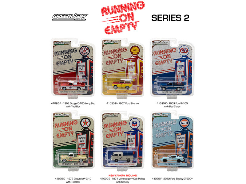 Running on Empty Series 2 6pc Diecast Car Set 1/64 Diecast Model Cars Greenlight 41020