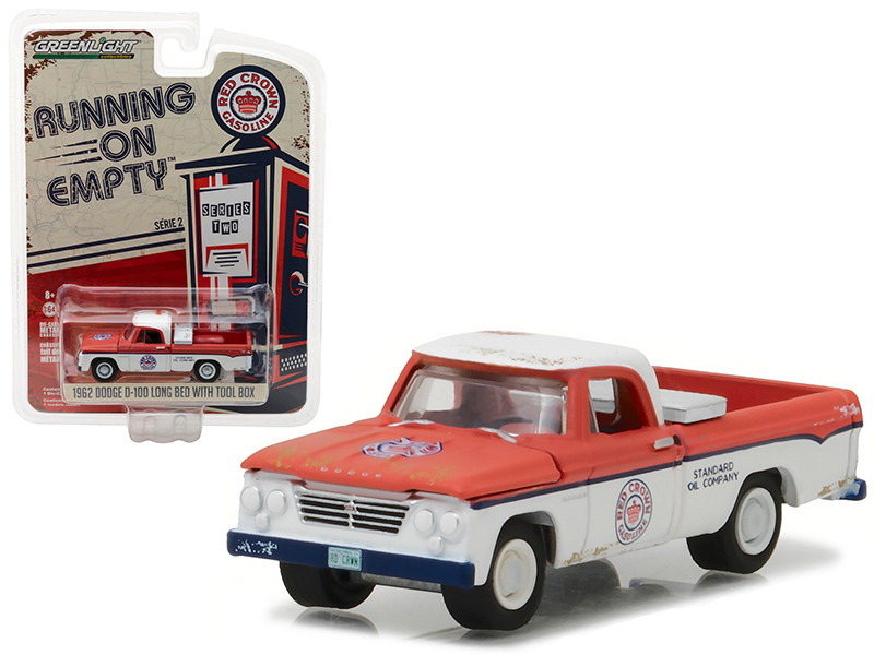 1962 Dodge D-100 Pickup Truck Long Bed with Tool Box Red Crown Gasoline 1/64 Diecast Model Car Greenlight 41020 A