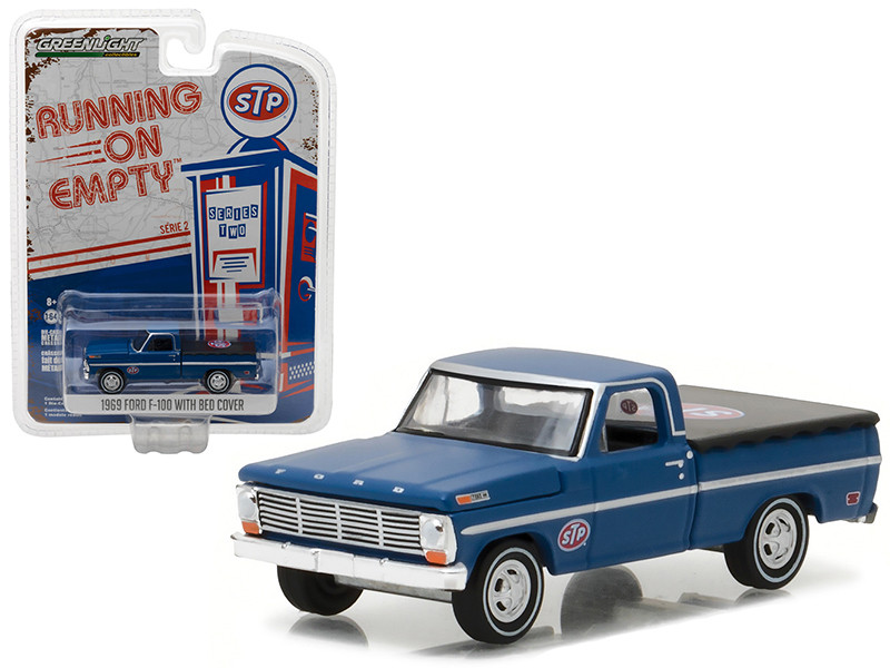 1969 Ford F-100 Pickup Truck with Bed Cover STP 1/64 Diecast Model Car Greenlight 41020 C
