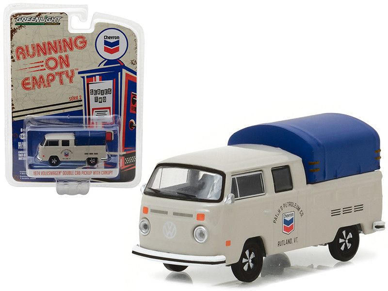1974 Volkswagen T2 Double Cab Pickup with Canopy Chevron 1/64 Diecast Model Car Greenlight 41020 E