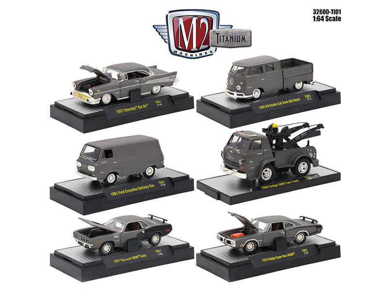 Titanium Release 1 6 Cars Set IN DISPLAY CASES 1/64 Diecast Model Cars M2 Machines 32600-TI-01