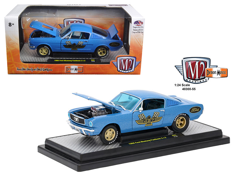 1966 Ford Mustang 2+2 GT Fastback Metalflake Blue 1/24 Diecast Model Car M2 Machines 40300-55 B