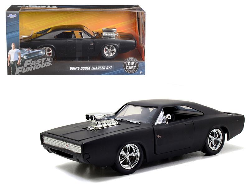 Dom's 1970 Dodge Charger R/T Matt Black Fast & Furious 7 Movie 1/24 Diecast Model Car Jada 97174