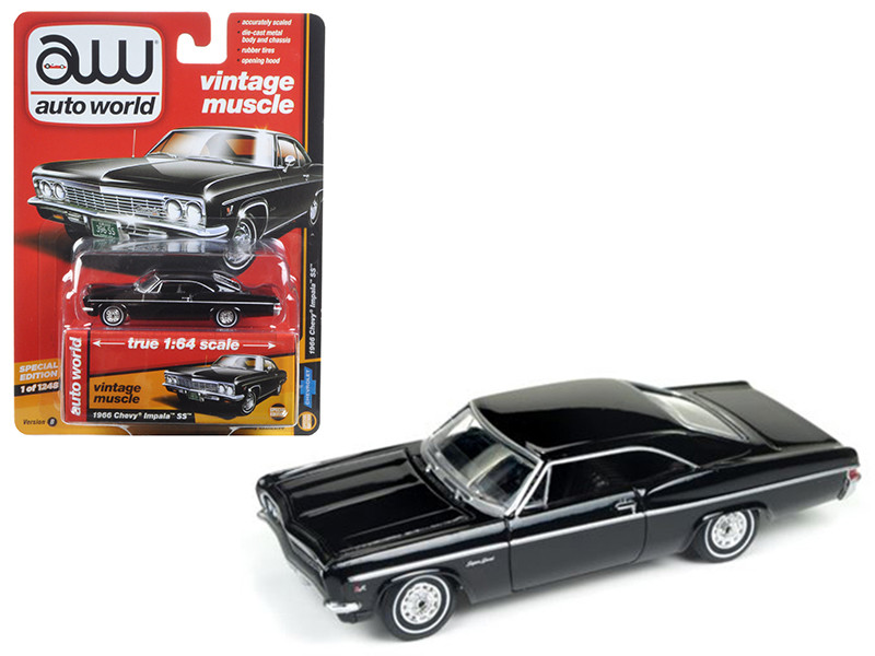 1966 Chevrolet Impala Gloss Black Auto World's Premium 1/64 Diecast Model Car Autoworld 64072 B