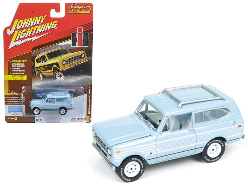 "1979 International Scout Light Blue \Johnny Lightning Classic Gold\"" 1/64 Diecast Model Car by Johnny Lightning"""""""