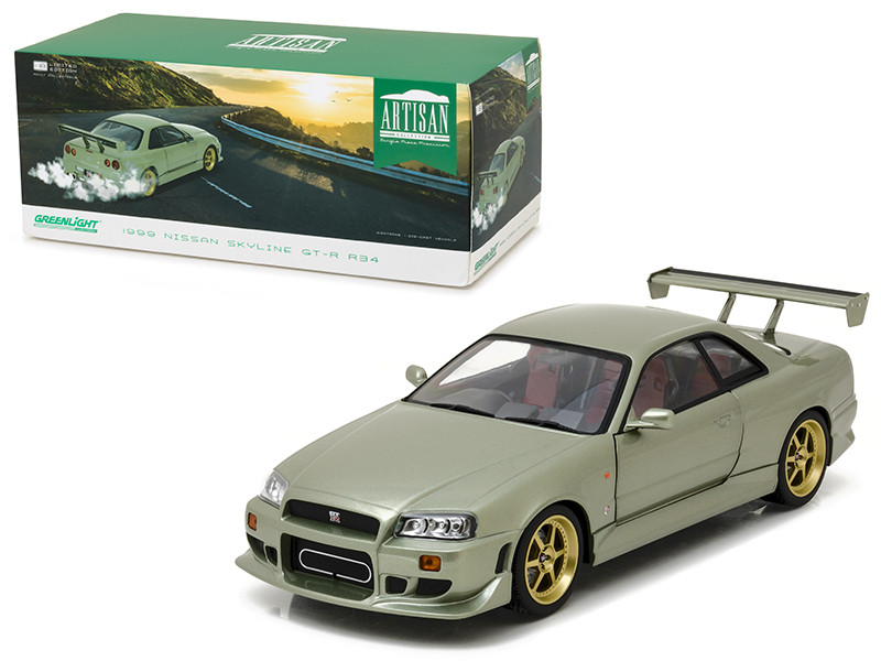1999 Nissan Skyline GT-R (R34) Millennium Jade 1/18 Diecast Model Car by Greenlight