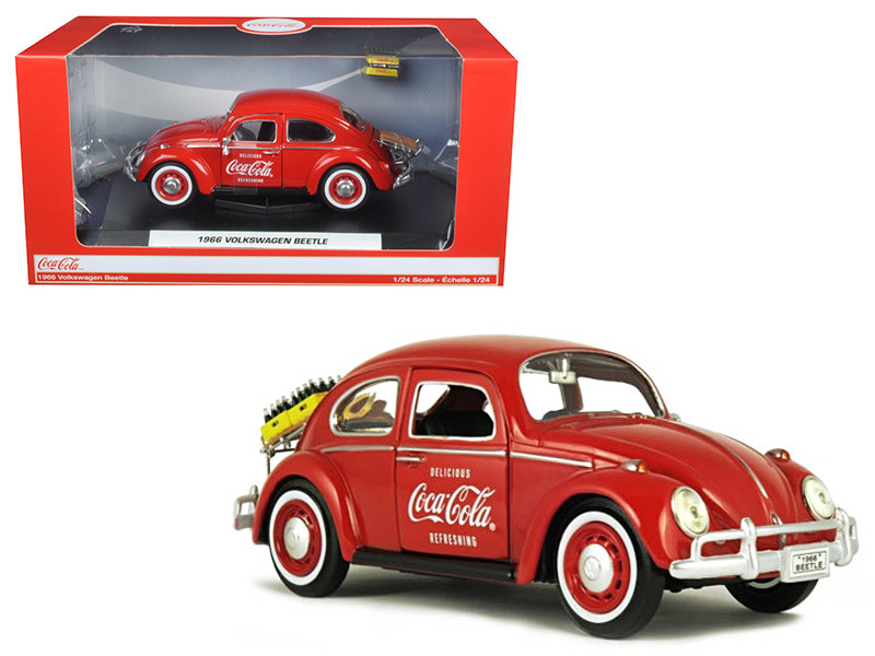1966 Volkswagen Beetle Coca Cola with Rear Decklid Rack and 2 Bottle Cases 1/24 Diecast Model Car Motorcity Classics 424067