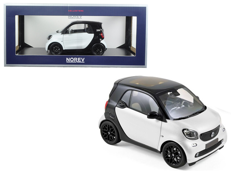 2015 Smart For Two Black and White 1/18 Diecast Model Car Norev 183430