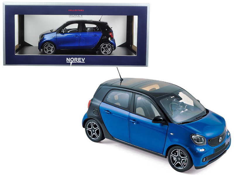 2015 Smart For Four Black and Blue 1/18 Diecast Model Car Norev 183435