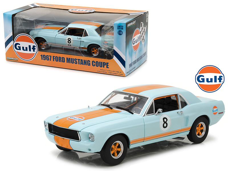 1967 Ford Mustang Coupe Gulf Oil #8 1/18 Diecast Model Car Greenlight 12989