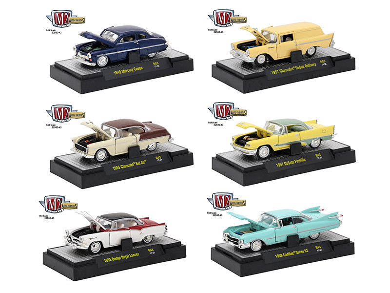 Auto Thentics 6 Piece Set Release 43 IN DISPLAY CASES 1/64 Diecast Model Cars M2 Machines 32500-43