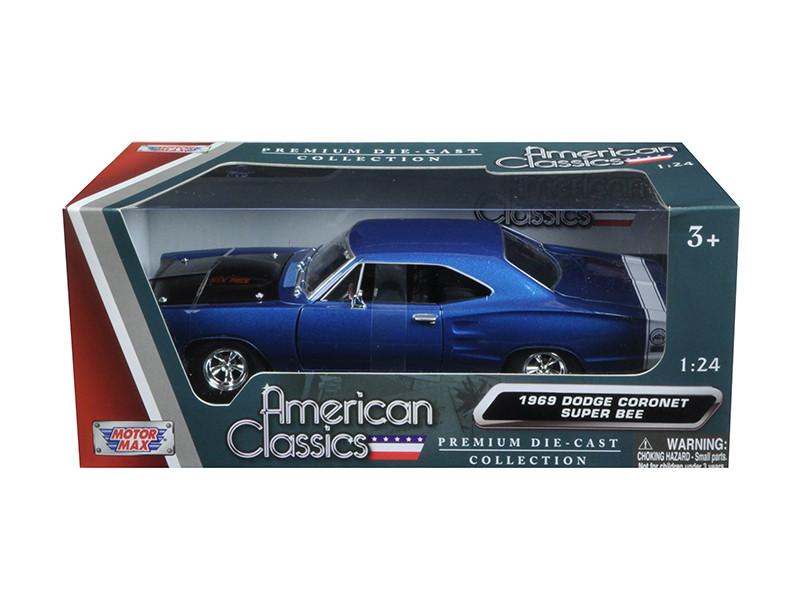 1969 Dodge Coronet Super Bee Blue 1/24 Diecast Model Car Motormax 73315