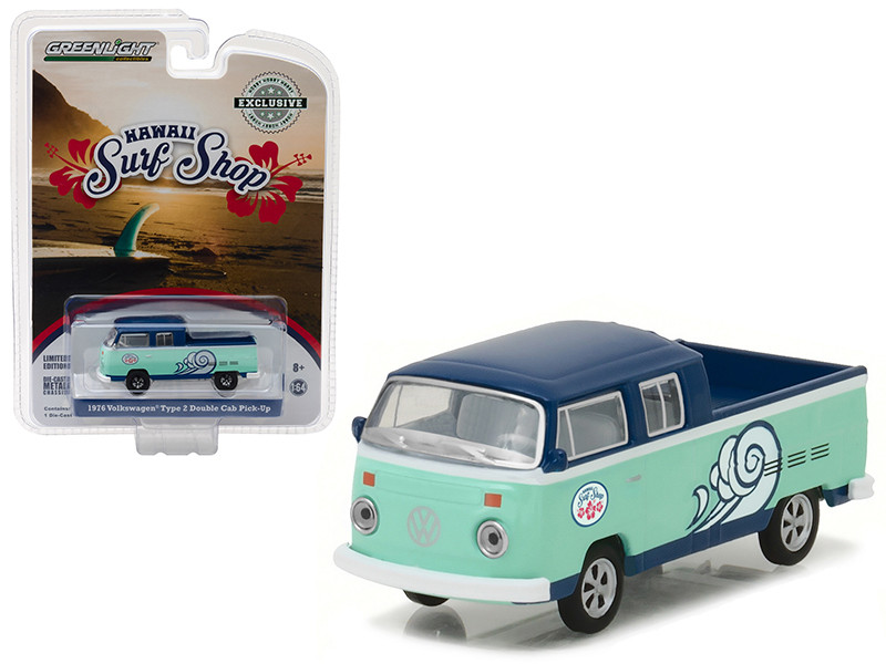 "1976 Volkswagen Type 2 Double Cab Pickup \Doka"" Hawaii Surf Shop Hobby Exclusive 1/64 Diecast Model Car by Greenlight"""""""