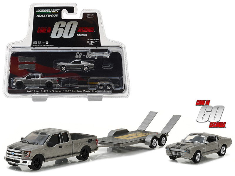 2015 Ford F-150 with 1967 Custom Ford Mustang Eleanor on Flatbed Trailer Gone in Sixty Seconds Movie 2000 Hollywood Hitch & Tow Series 3 1/64 Diecast Model Cars Greenlight 31030 C