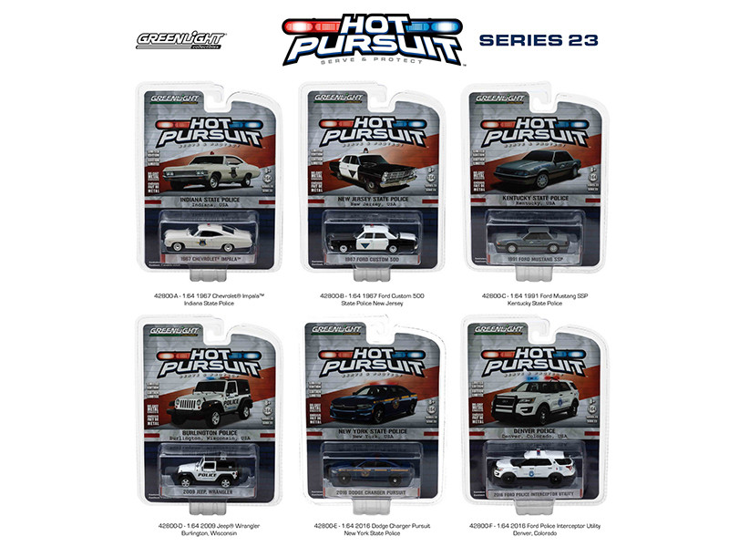 Hot Pursuit Series 23 6pc Diecast Car Set 1/64 Diecast Model Cars Greenlight 42800