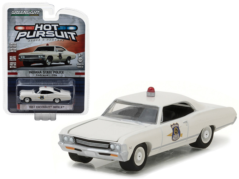 1967 Chevrolet Impala Indiana State Police Hot Pursuit Series 23 1/64 Diecast Model Car Greenlight 42800 A