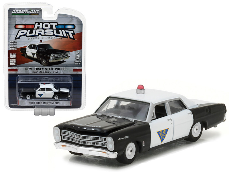 1967 Ford Custom 500 New Jersey State Police Hot Pursuit Series 23 1/64 Diecast Model Car Greenlight 42800 B