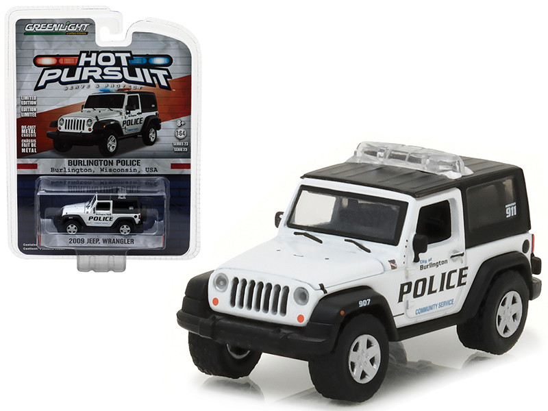 2009 Jeep Wrangler Burlington Wisconsin Police Hot Pursuit Series 23 1/64 Diecast Model Car Greenlight 42800 D