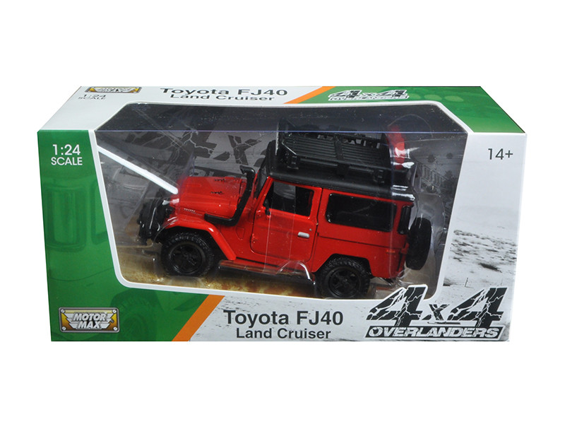 "Toyota FJ40 Land Cruiser Red \4x4 Overlanders"" Series 1/24 Diecast Model Car by Motormax"""""""