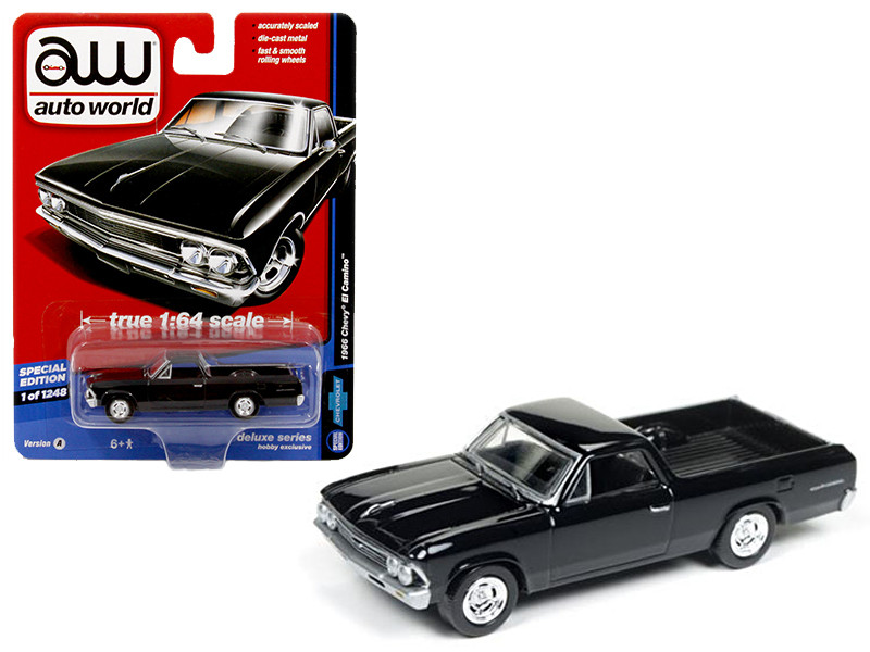 1966 Chevrolet El Camino Gloss Black Auto World Deluxe Limited Edition to 1248pcs 1/64 Diecast Model Car Autoworld 64031 A