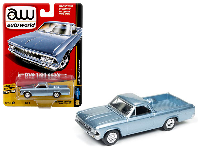 1966 Chevrolet El Camino Light Blue Auto World Deluxe Limited Edition to 1248pcs 1/64 Diecast Model Car Autoworld 64031 B