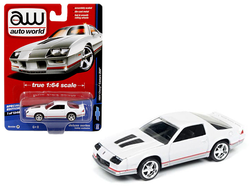 1984 Chevrolet Camaro Z28 Gloss White Auto World Deluxe Limited Edition to 1248pcs 1/64 Diecast Model Car Autoworld 64041 A