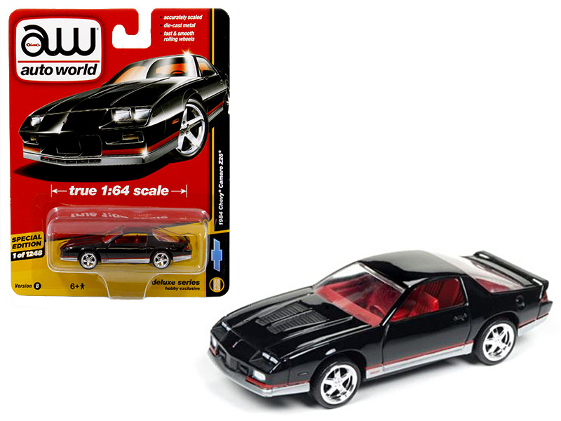 1984 Chevrolet Camaro Z28 Black Auto World Deluxe Limited Edition to 1248pcs 1/64 Diecast Model Car Autoworld 64041 B