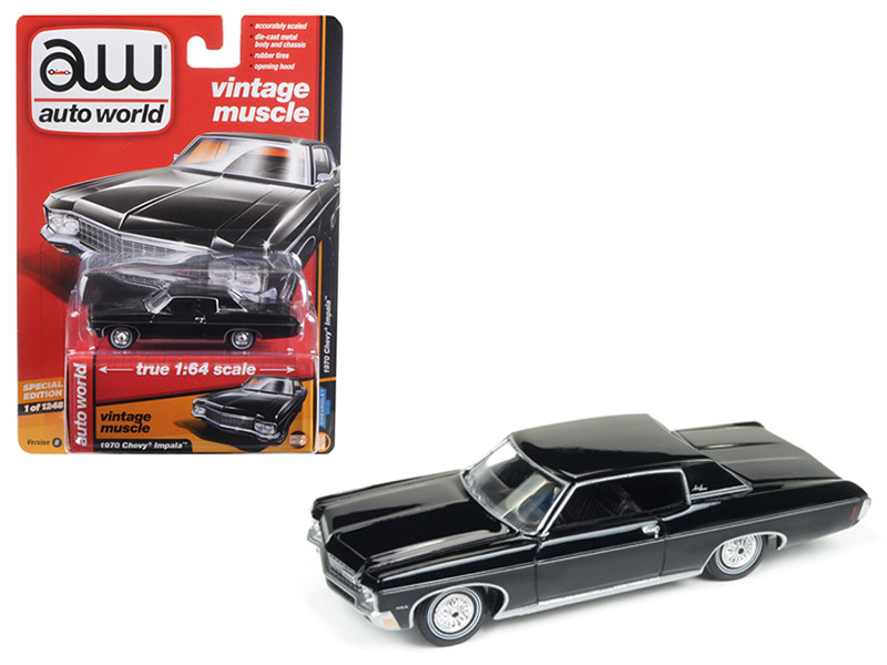 1970 Chevrolet Impala Gloss Black Auto World's Premium 1/64 Diecast Model Car Autoworld 64102 B