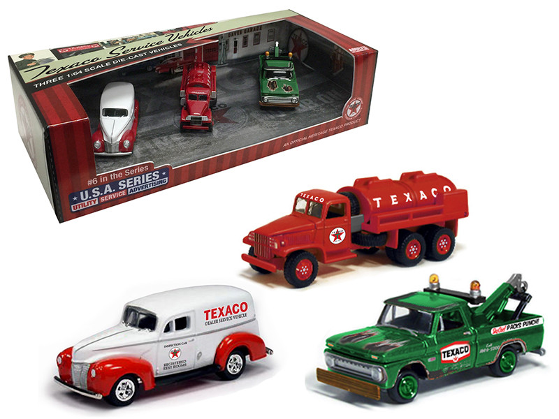 Texaco Service Vehicles Set of 3 Cars USA Series #6 1/64 Diecast Model Cars Autoworld CP7421