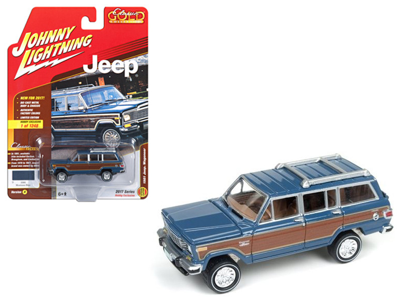 1981 Jeep Wagoneer Mountain Blue with Wood Panel Classic Gold Limited Edition to 1248pcs 1/64 Diecast Model Car Johnny Lightning JLCG006 A