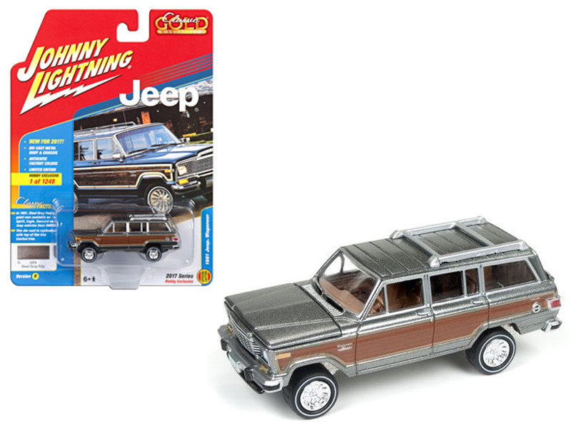 1981 Jeep Wagoneer Steel Gray with Wood Panel Classic Gold Limited Edition to 1248pcs 1/64 Diecast Model Car Johnny Lightning JLCG006 B