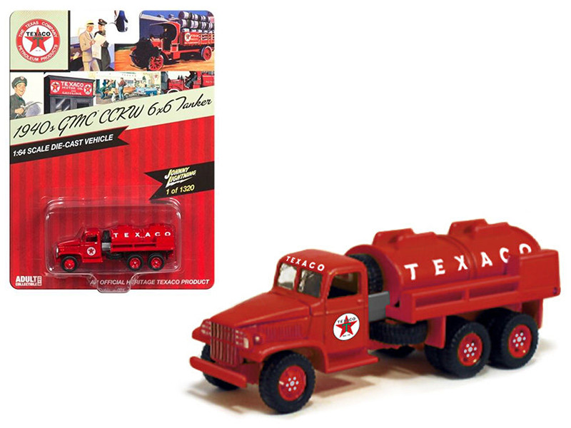 1940 GMC CCWK 6x6 Tanker Texaco 1/64 Diecast Model Car Johnny Lightning JLTX003