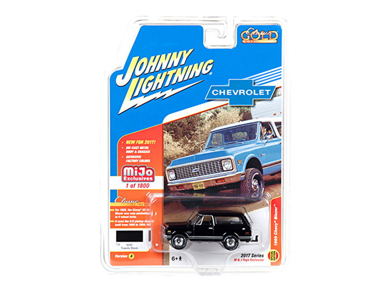 1969 Chevrolet Blazer Black with Tow HItch Classic Gold 1/64 Diecast Model Car Johnny Lightning JLCP7000
