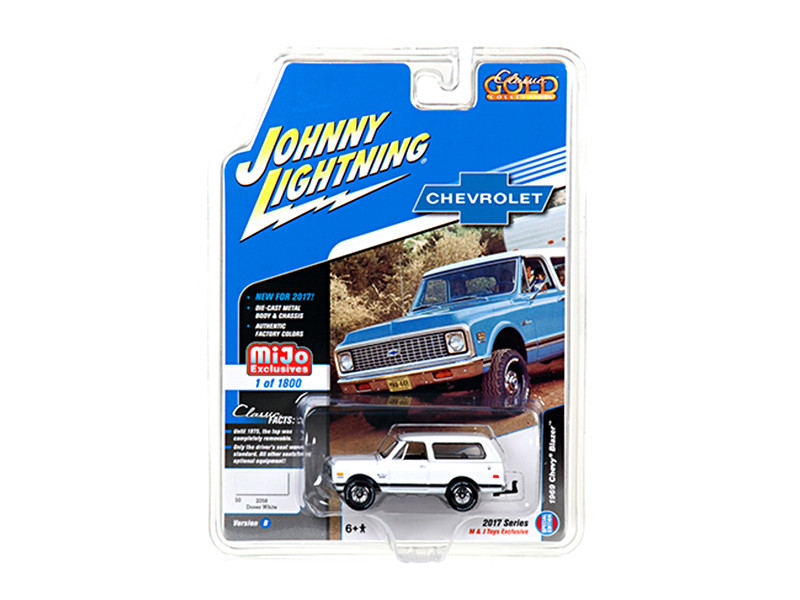 1969 Chevrolet Blazer White with Tow HItch Classic Gold 1/64 Diecast Model Car Johnny Lightning JLCP7001