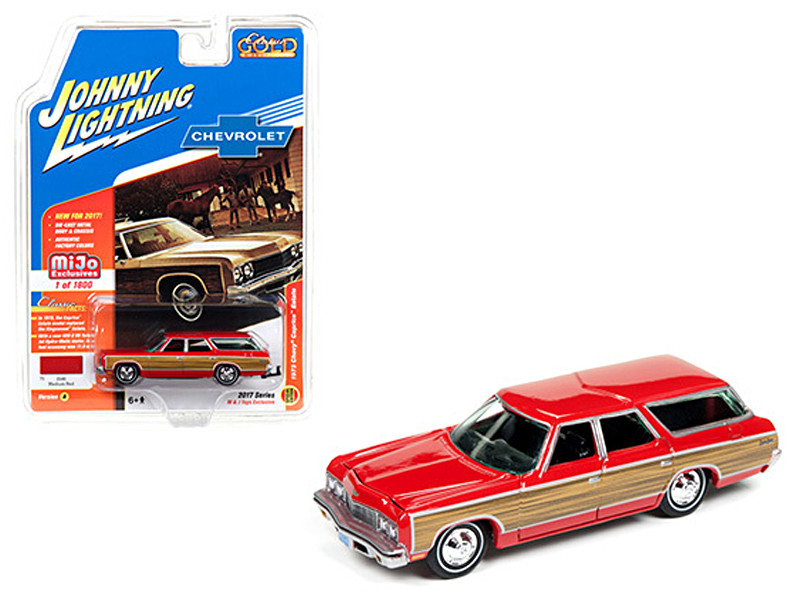 1973 Chevrolet Caprice Wagon Red Classic Gold 1/64 Diecast Model Car Johnny Lightning JLCP7002