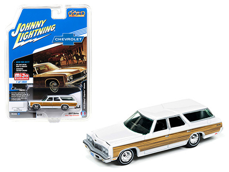 1973 Chevrolet Caprice Wagon White Classic Gold 1/64 Diecast Model Car Johnny Lightning JLCP7003