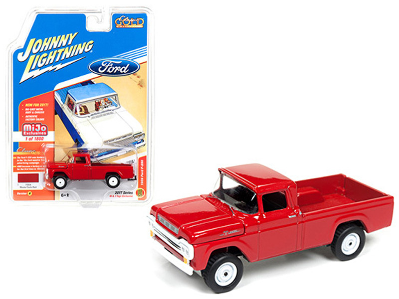 1959 Ford F-250 Pickup Truck Red Classic Gold 1/64 Diecast Model Car Johnny Lightning JLCP7004