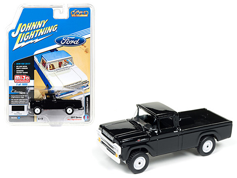 1959 Ford F-250 Pickup Truck Black Classic Gold 1/64 Diecast Model Car Johnny Lightning JLCP7005