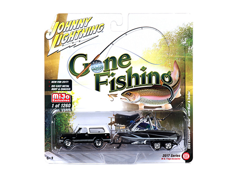 1969 Chevrolet Blazer Black with Boat and Trailer Gone Fishing 1/64 Diecast Model Car Johnny Lightning JLCP7010