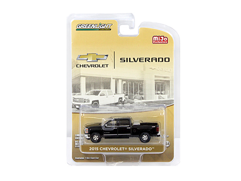 2015 Chevrolet Silverado Pickup Truck Black with Tow Hitch and Tool Box Limited Edition to 2400pcs 1/64 Diecast Model Car Greenlight 51109 B