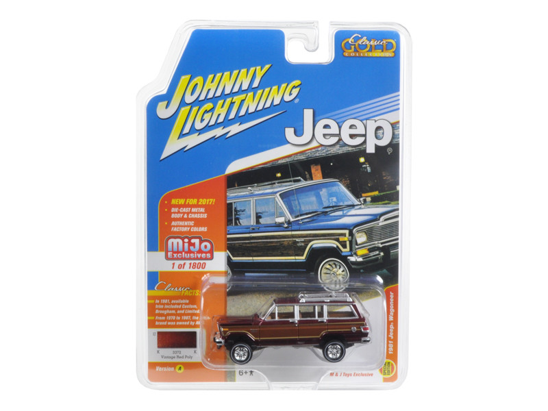 1981 Jeep Wagoneer Vintage Red Poly Classic Gold 1/64 Diecast Model Car Johnny Lightning JLCP7008