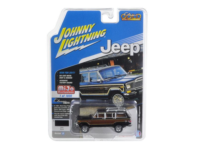 1981 Jeep Wagoneer Black Classic Gold 1/64 Diecast Model Car Johnny Lightning JLCP7009
