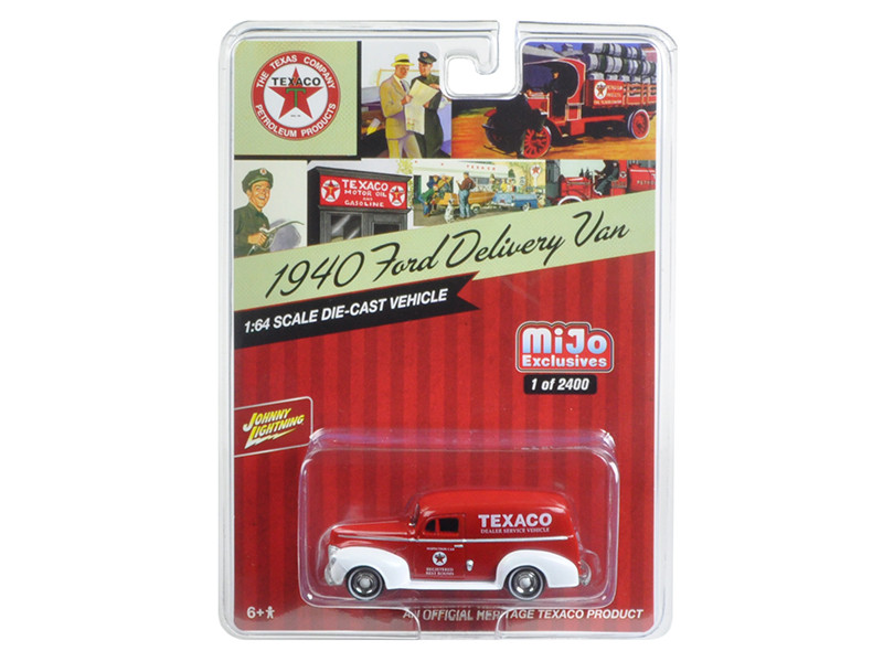1940 Ford Delivery Van Texaco Red 1/64 Diecast Model Car Johnny Lightning JLCP7013