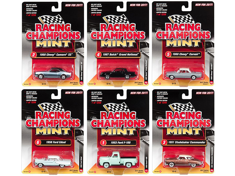 2017 Mint Release 2 Set A Set of 6 Cars 1/64 Diecast Model Cars by Racing Champions