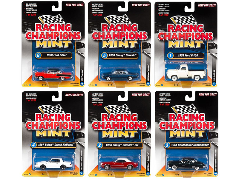 2017 Mint Release 2 Set B Set of 6 Cars 1/64 Diecast Model Cars by Racing Champions
